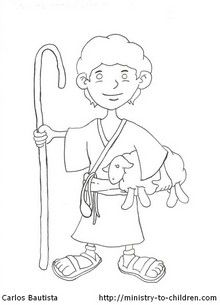 David the Shepherd Boy Coloring Page  Bible David  Pinterest