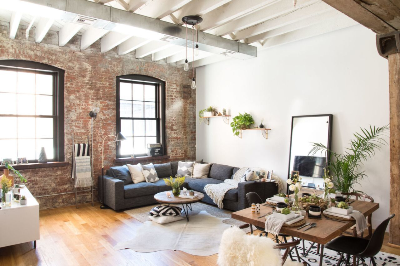 Industrial living room with exposed brick in a Brooklyn home | Home ...