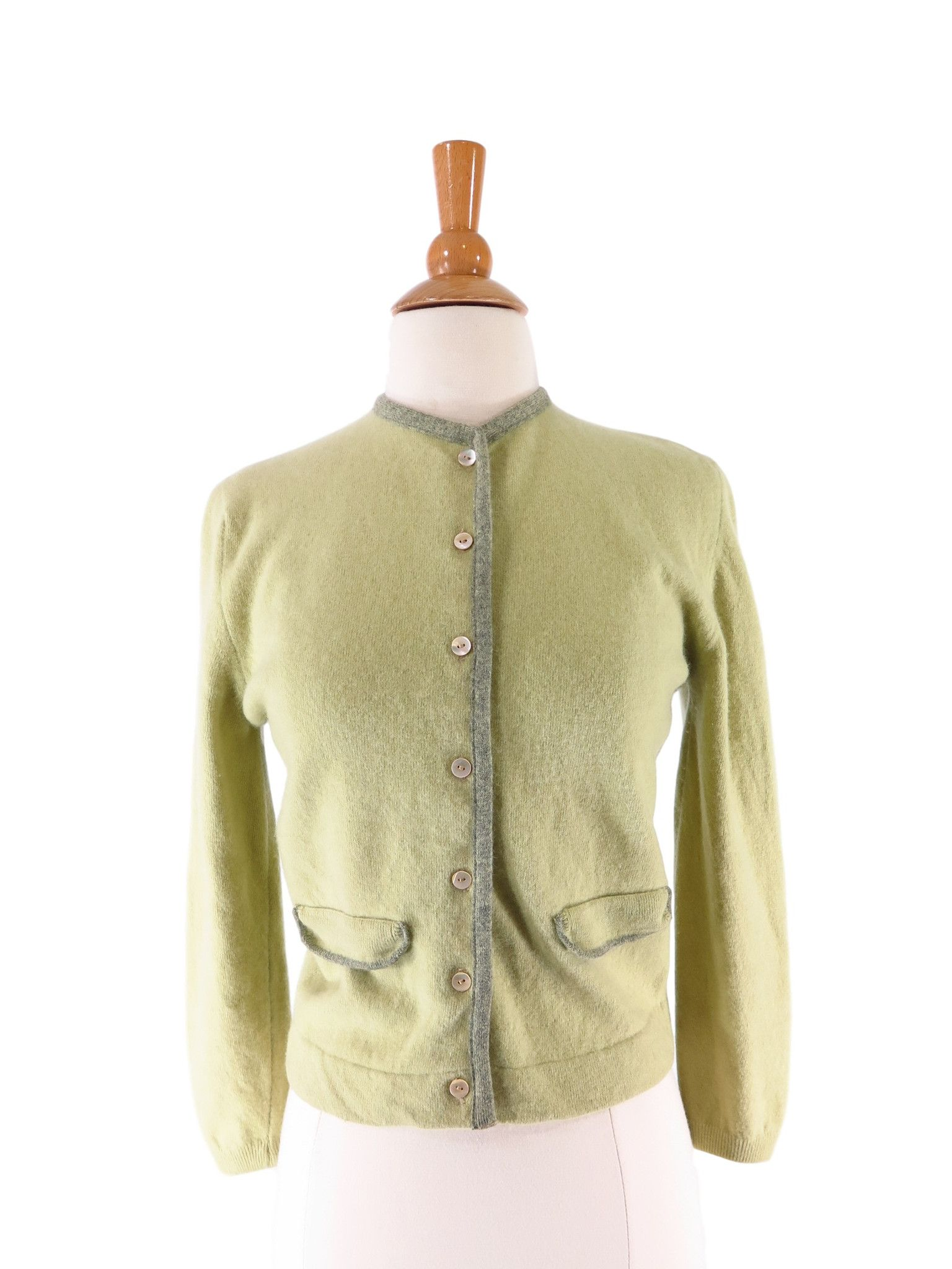 50s/60s Green Wool Angora Cardigan Sweater - sm | Green wool