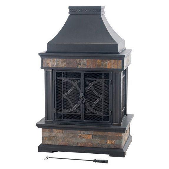 Sunjoy Heirloom 56 Steel Fireplace Outdoor Fireplace Slate Fireplace Wood Burning Fire Pit