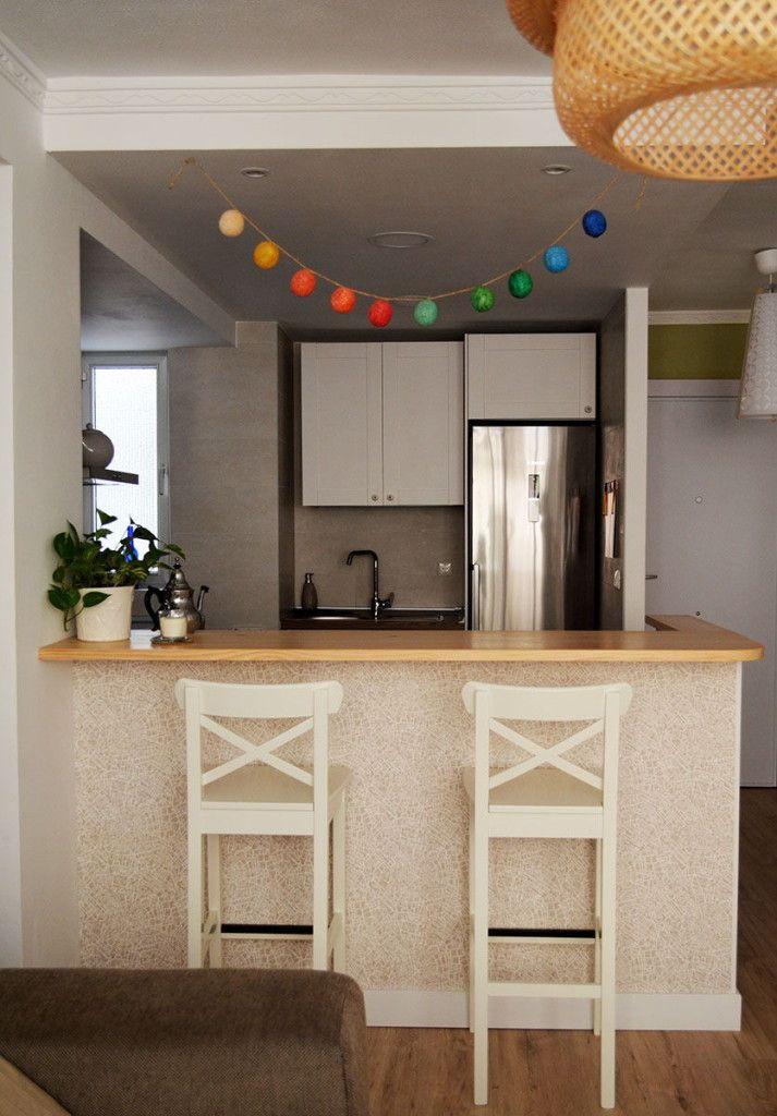 Papel pintado en cocina barra americana departamento de ideas cocinas pinterest searching - Barra americana para cocina ...