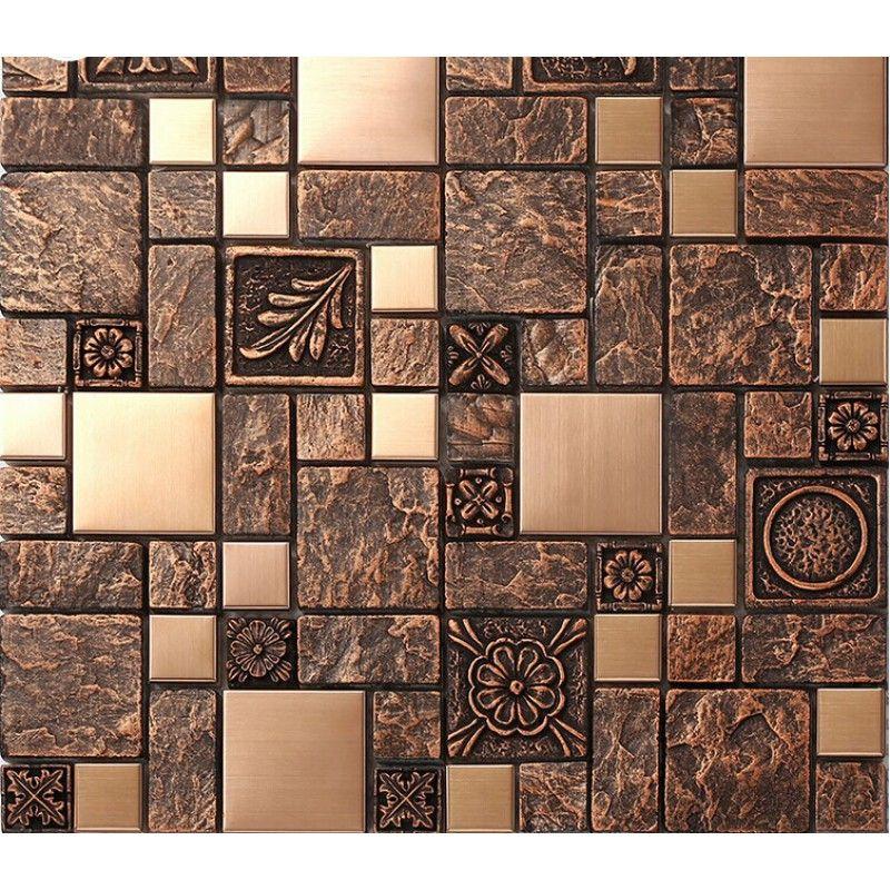 Brushed Stainless Steel Tiles Brass Resin Metal Mosaic Tile Patterns Extraordinary Resin Backsplash Ideas