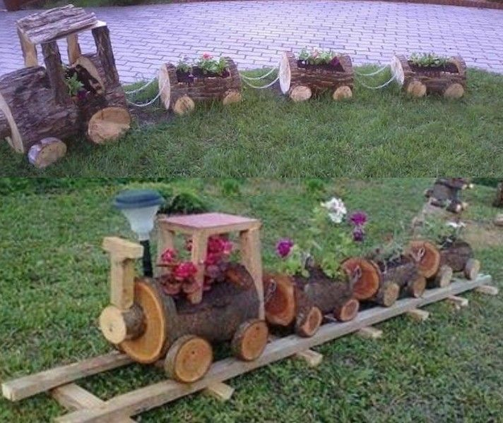 Tren con troncos recicla pinterest troncos tren y for Ideas para decorar un jardin rustico