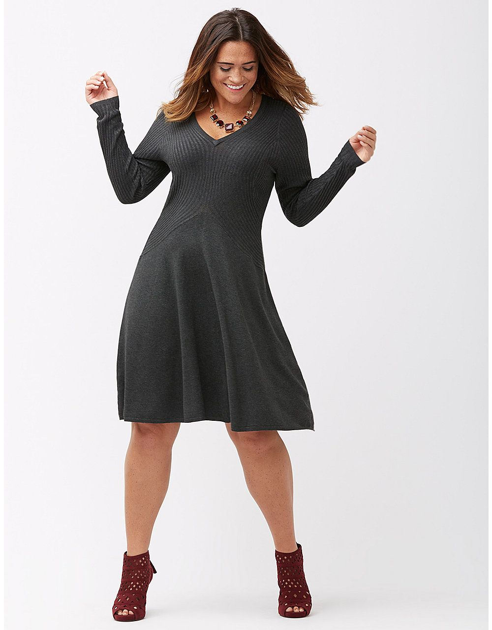 c1b4c24ee58 Ribbed fit   flare sweater dress