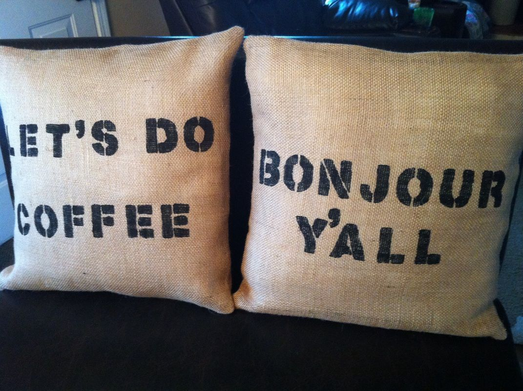Hand Stenciled Burlap Throw Pillows by www.copperskyranch.com
