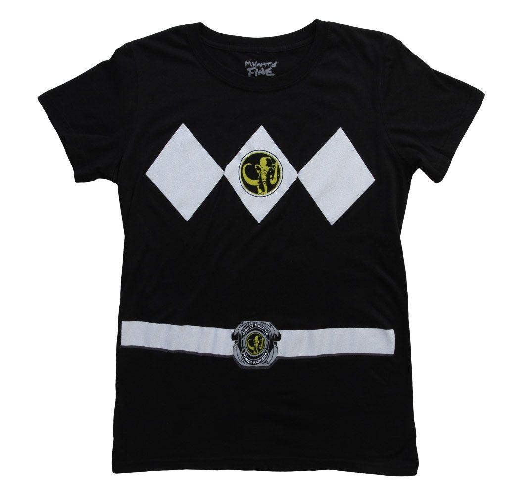 Womens Black Power Rangers Costume T-Shirt   Mighty Morphin Power ...