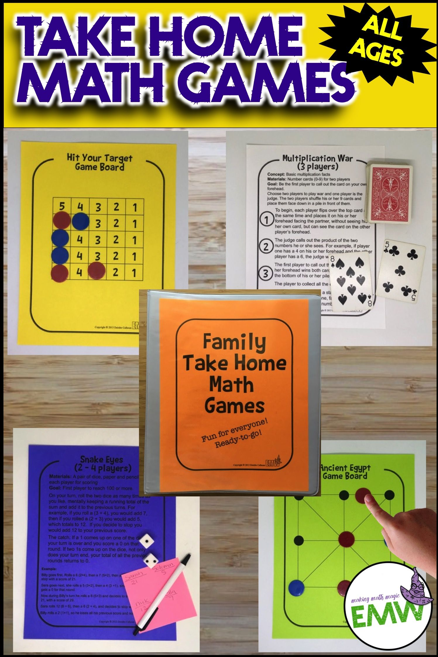 Math Games for families, math night, and early finishers