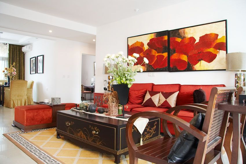 Room · Formal Living Room With Red Accent Pieces