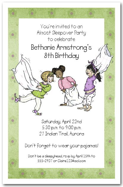 Pajama Party Pillow Fight Sleepover invitations, Slumber party - best of birthday invitations sleepover party