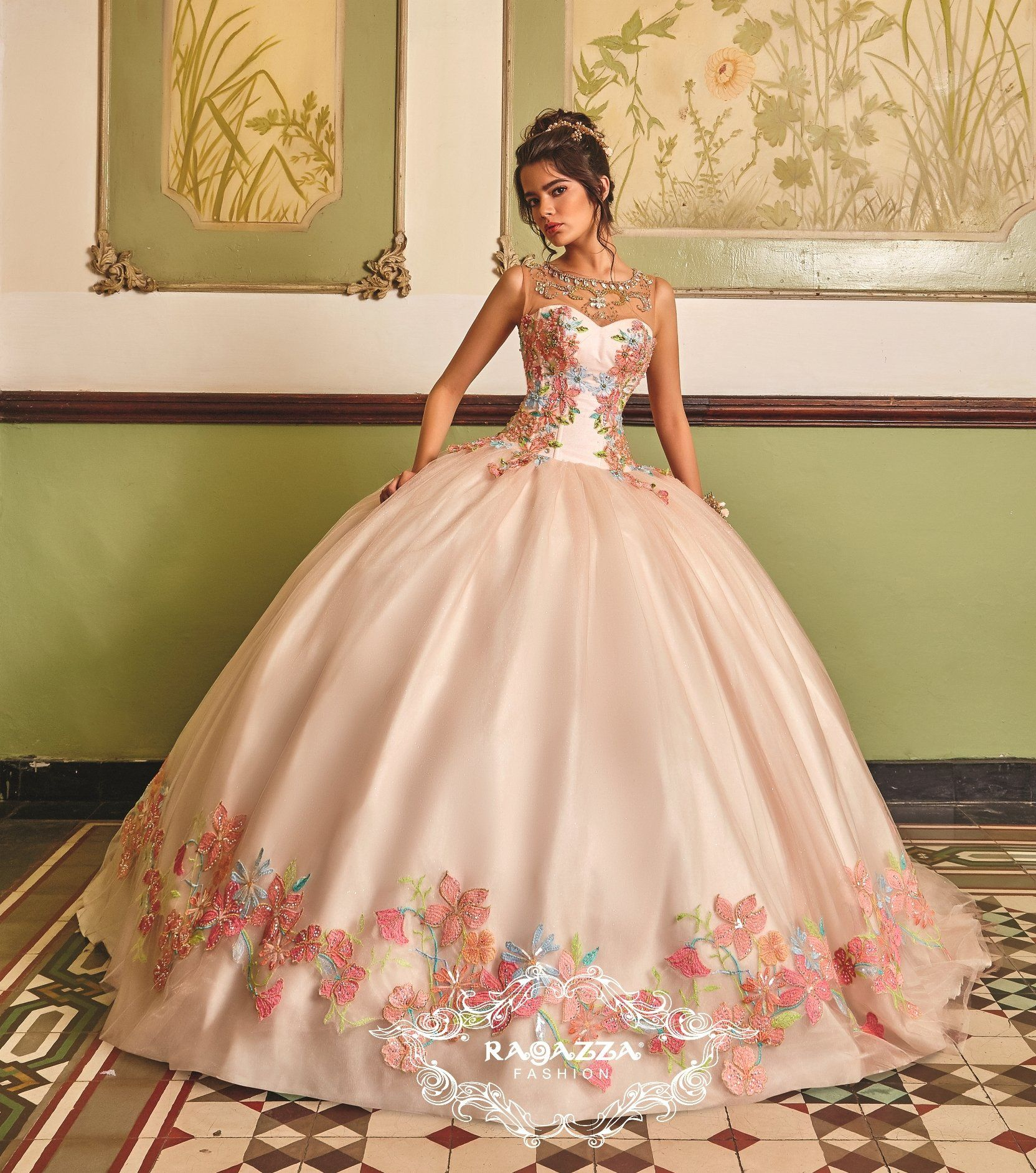 4679f154565 Floral Embroidered Quinceanera Dress by Ragazza Fashion V85-385