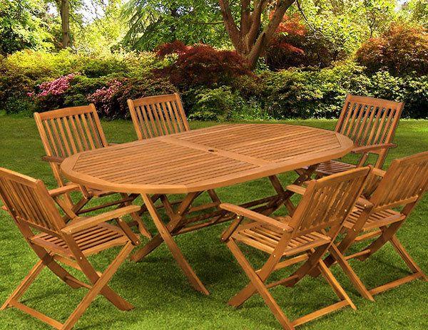 Tavolo in legno eucalipto + 6 sedie da giardino mobili da