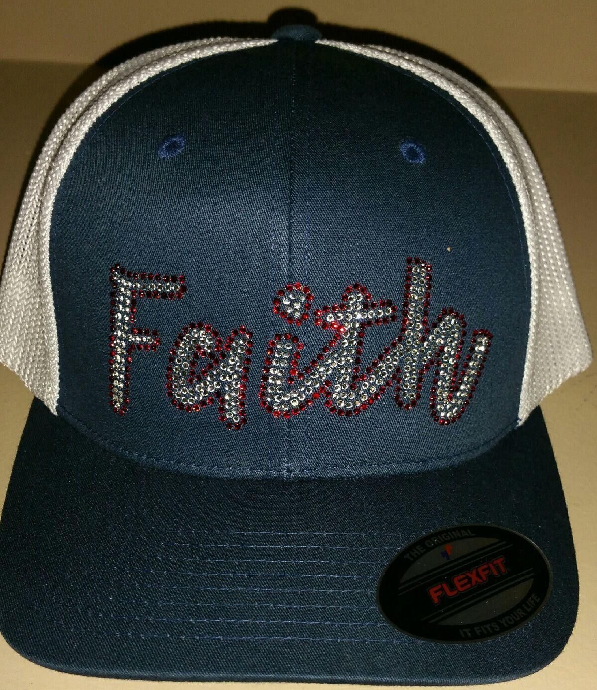 Ladies bling faith flex fit trucker hat navy trucker