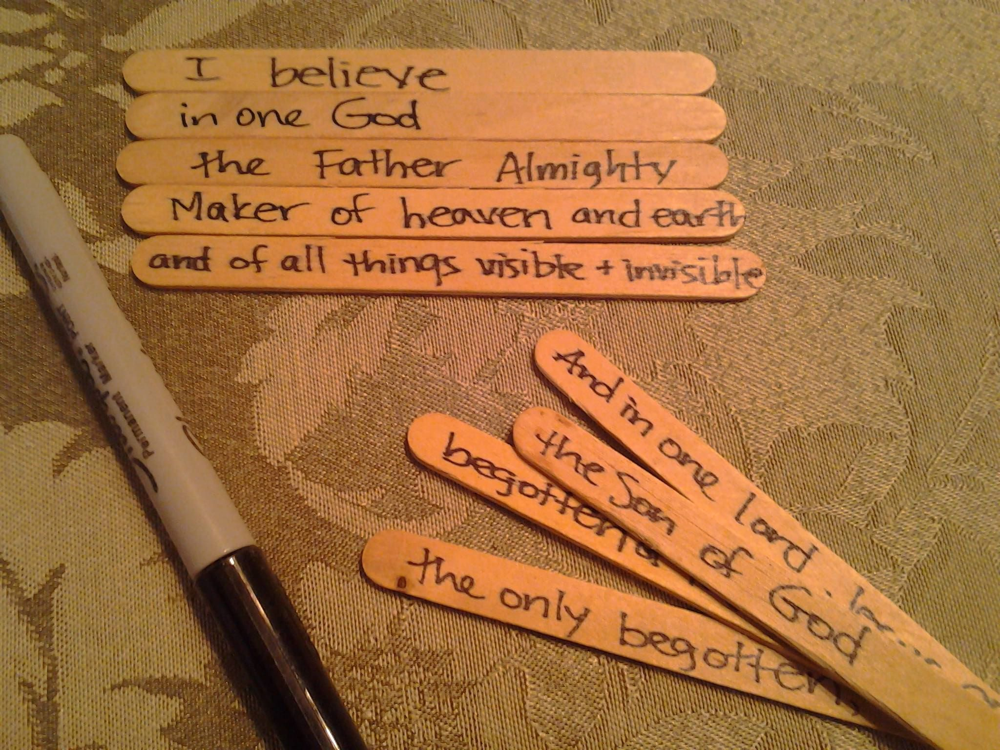 Write Each Phrase Of The Creed On A Popsicle Stick Mix Up All Of The Popsicle Sticks And Have
