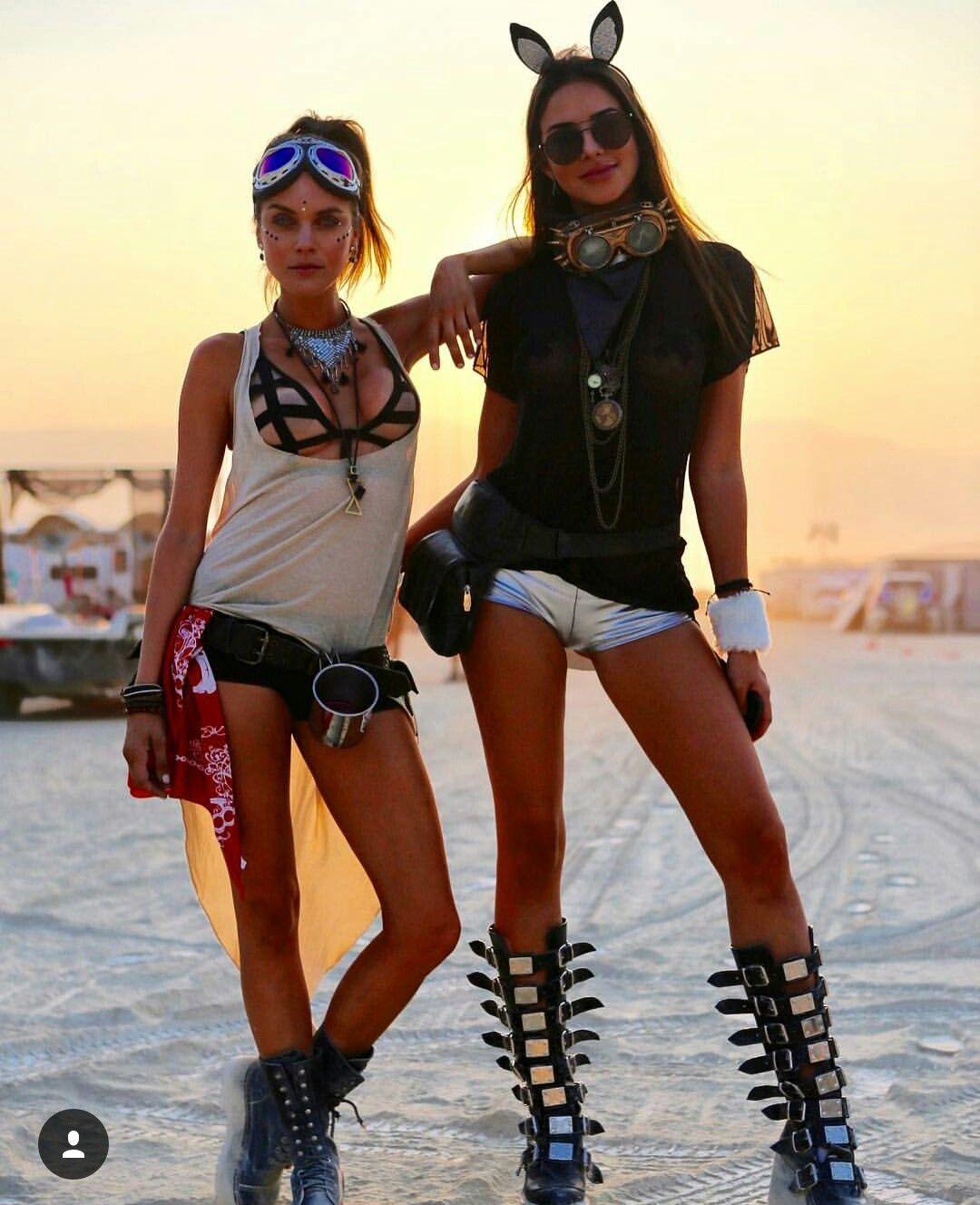 Girls burning nude rave