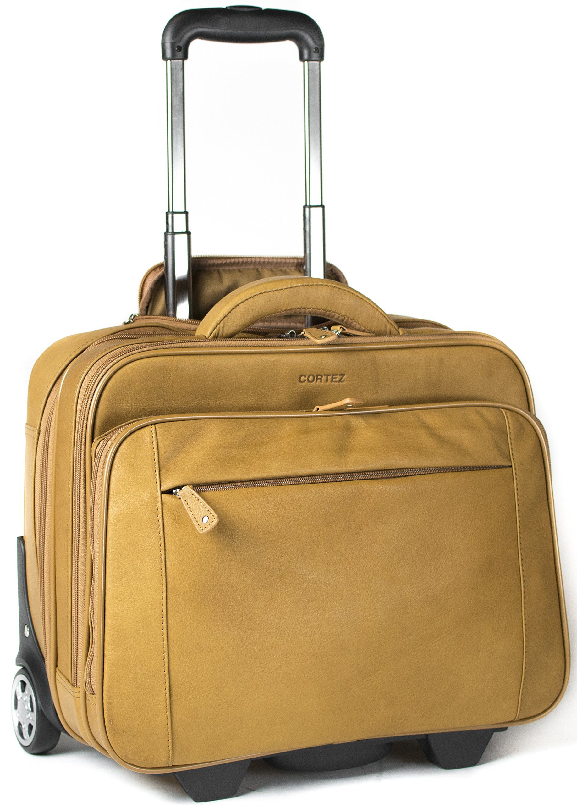 Cortez Colombian Leather Executive Laptop Cabin Trolley, Removable Laptop  Sleeve (Tan): Amazon