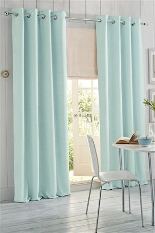 Lounge Dining Room Duck Egg Woven Texture Eyelet Curtain