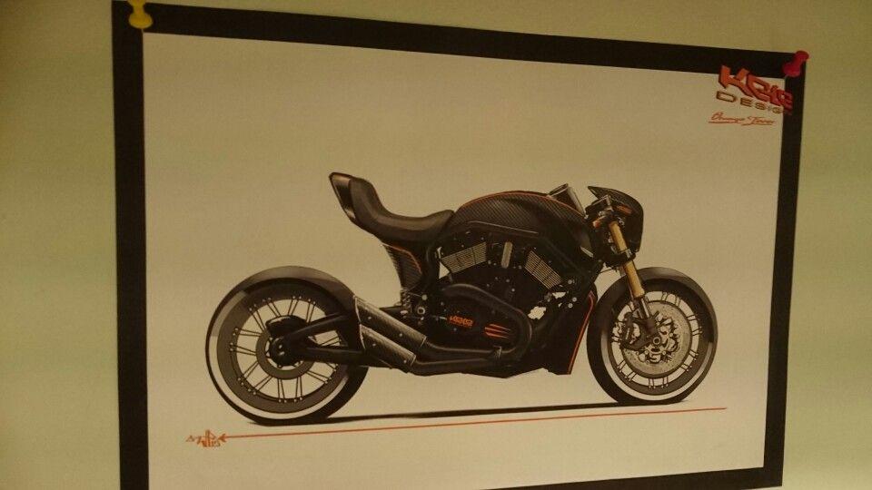 """Orange Fever"" 2015 KELE CAFE ROD, from 2006 Harley V-Rod with Kele Design Airbox cover. -WP"