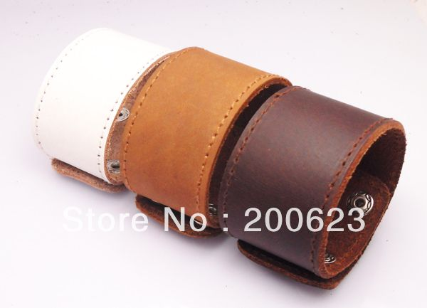 Wide Leather Cuff, Plain Leather Snap Bracelet, Blank Leather Bangle For Put Logo By Youself, Leather Jewelry hot selling