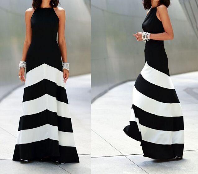 Sexy round neck striped sleeveless dress FG5825JK