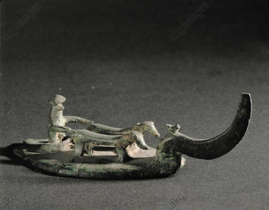 Bronze statuette of a farmer ploughing, Saone, France, 10th-6th century BC