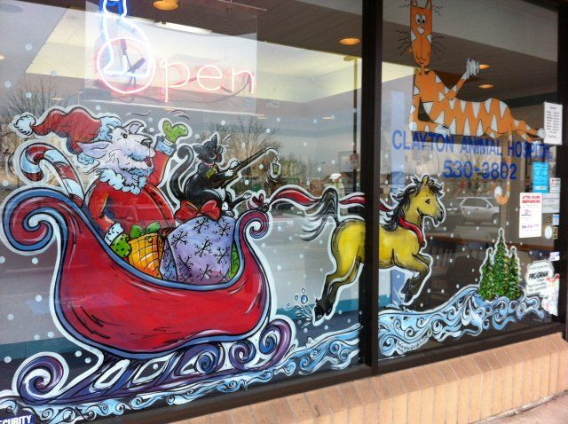 vet hospital window painting cat and dog in santa sleigh christmas window painting window painting painting vet hospital window painting cat and