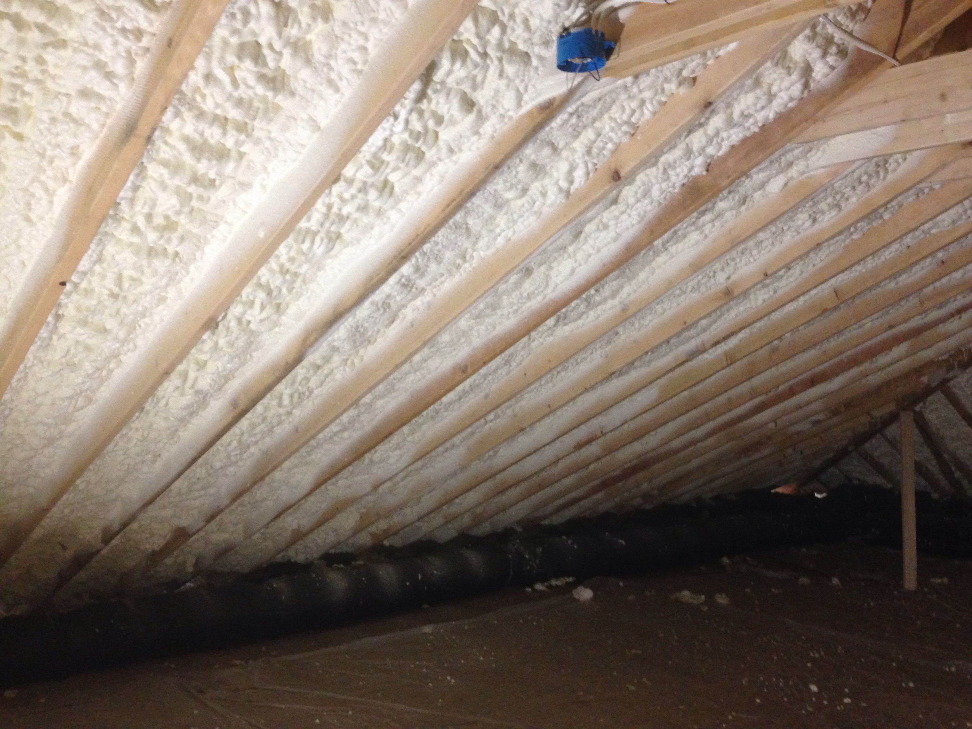 Open Cell Spray Foam Insulation Installed In The Roof Deck