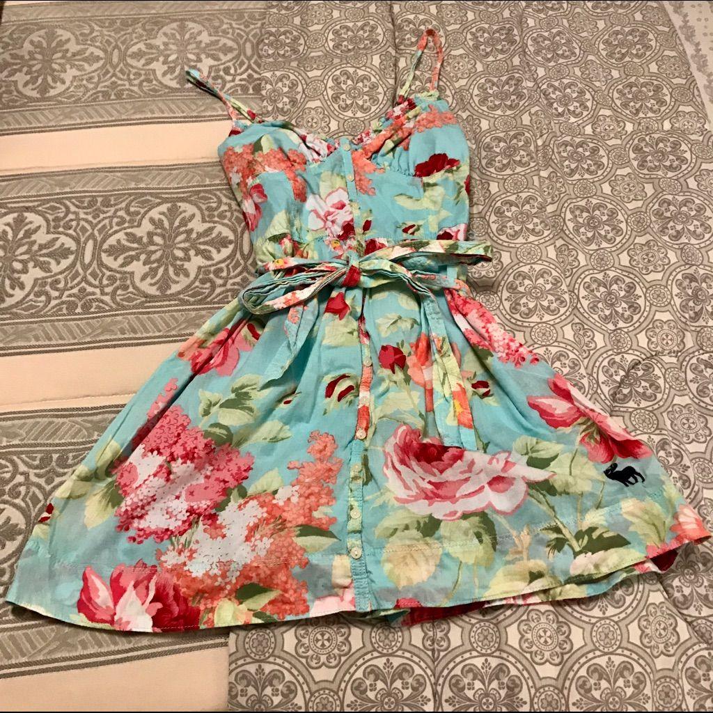 Abercrombie & Fitch Floral Ribbon Waist Dress