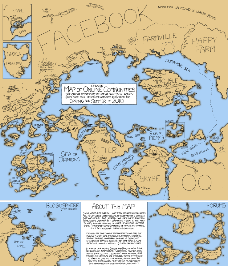 Im a fan of the comic series xkcd and their creative and data xkcd map of internet communities 2010 gumiabroncs Gallery