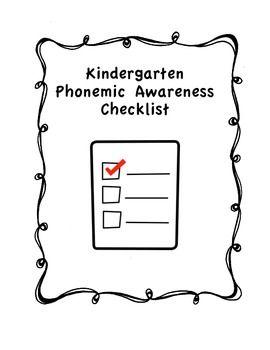 Free! Kindergarten Phonemic Awareness Checklist. A great