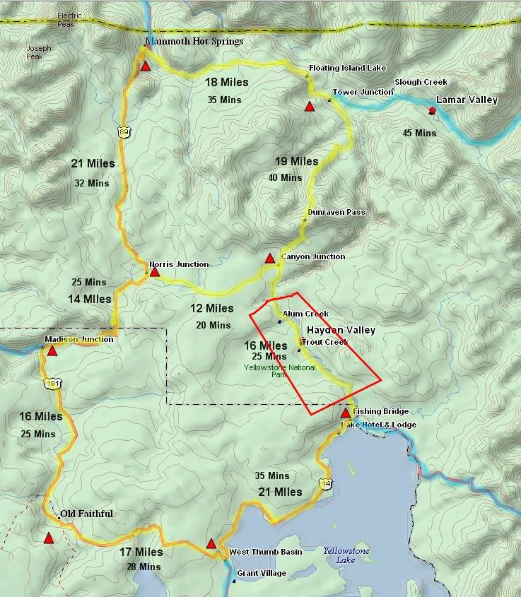 hayden valley yellowstone map Map With Driving Times In Yellowstone Yellowstone Vacation hayden valley yellowstone map