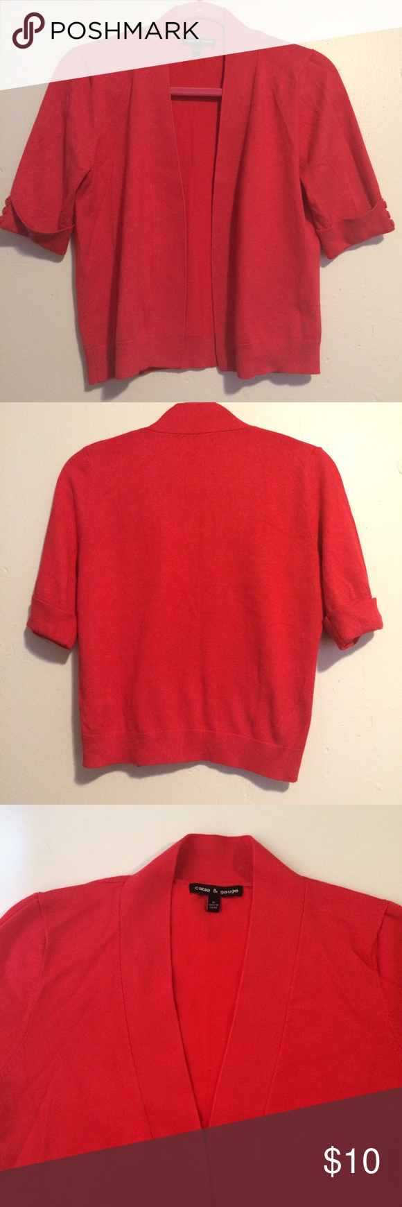 Dark coral open front cardigan with short sleeves Open front V ...