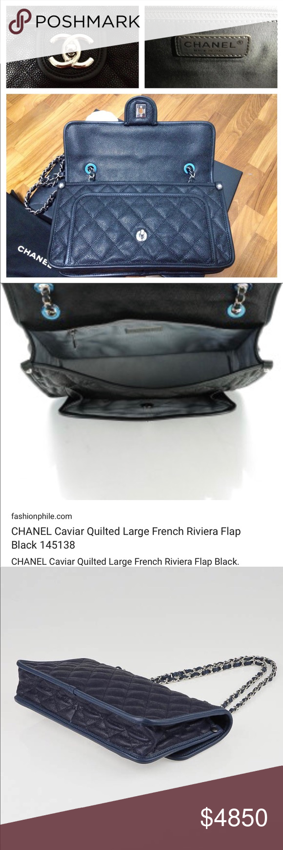 26488fe55f4b Authentic Chanel French Riviera blk Med Caviar bag Beautiful Chanel black  caviar bag with silver single