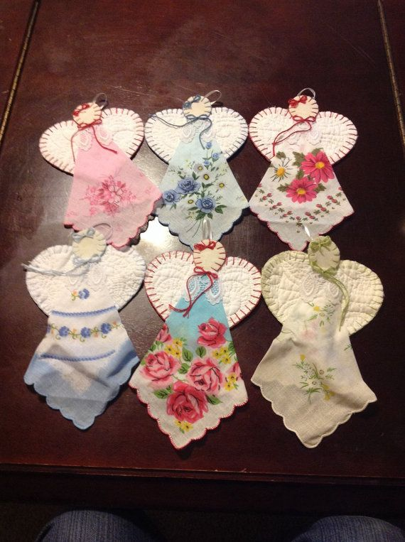 """Doily Angels, made from vintage hankerchiefs, can be hung on cabinet doors; about 8 1/2 x 5"""" each"""