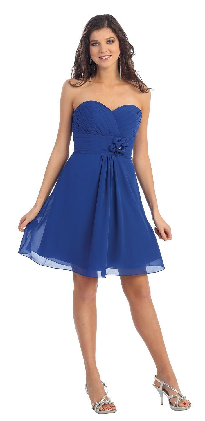 Short strapless chiffon royal blue bridesmaid dress for Royal blue short wedding dresses