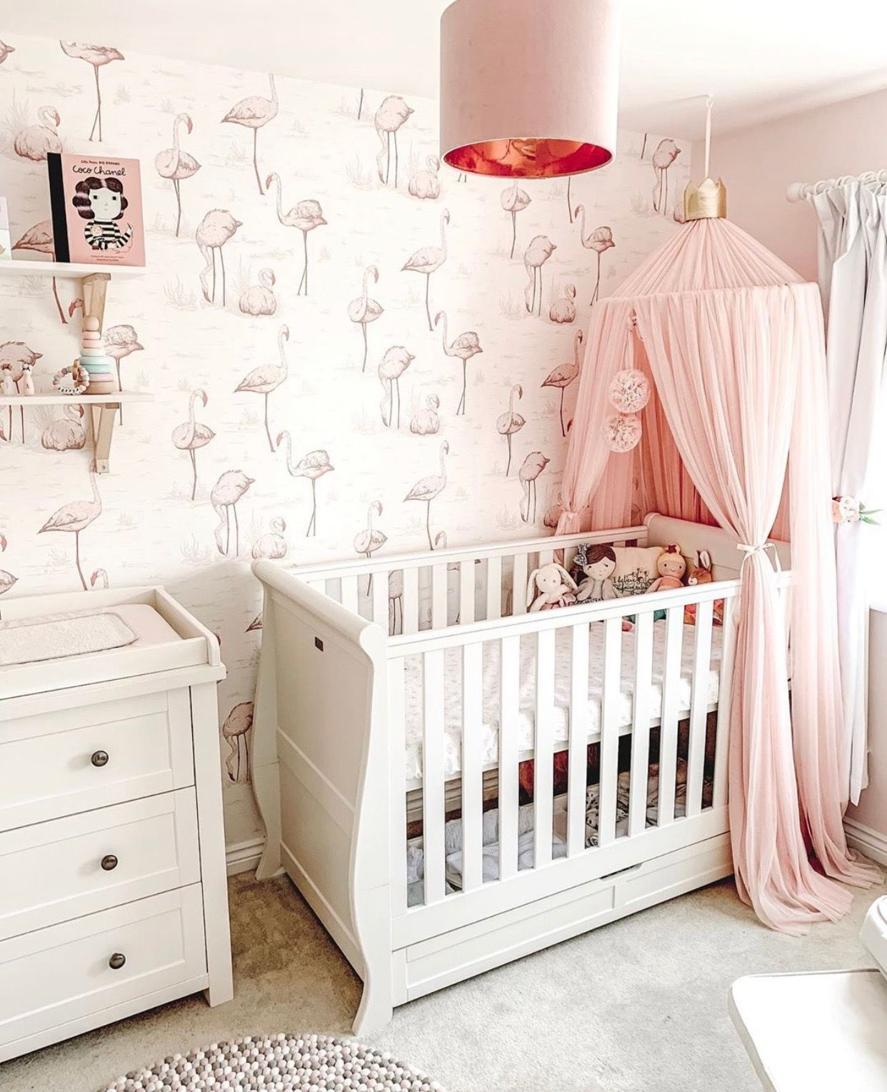 Flamingo Nursery Decor Blush Pink Nursery Girl Nursery Ideas Flamingo Wallpaper Pink Baby Room Decor Nursery Baby Room Baby Room Colors