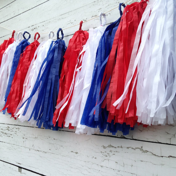 Nautical Red White Blue Banner Patriotic Tassel Garland For 4th Of