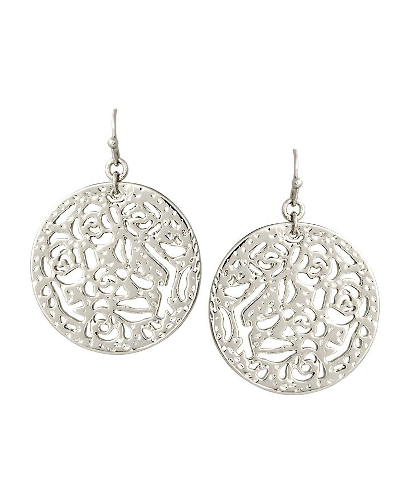 Madina Small Round Earrings In Silver  Silver Circles Containing Kendra  Scott's Signature Filigree Pattern Create