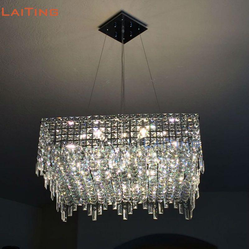 Laiting modern design rectangular chandeliers dining room illumination lighting square crystal chandelier led lt 71064r