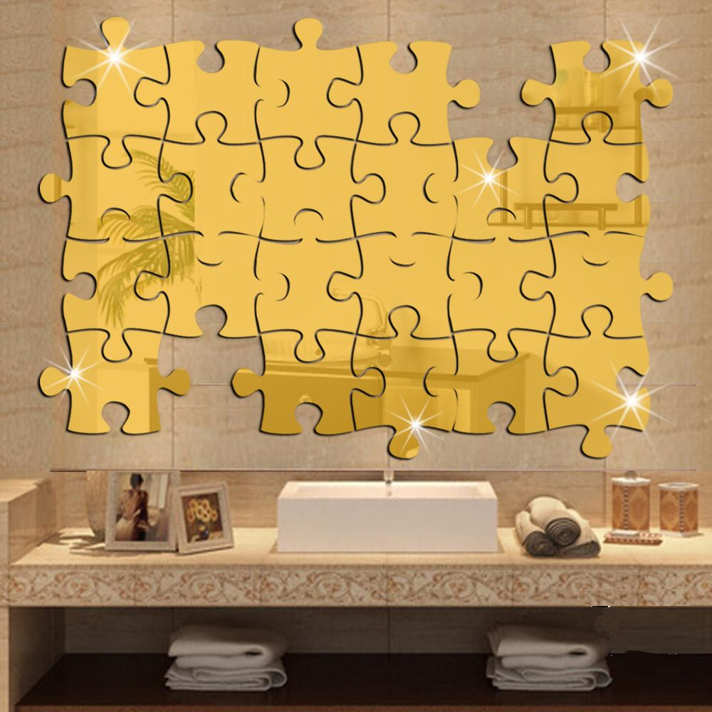 40x37cm15.7x14.6in 4pcs/lot Jigsaw Puzzle Pieces Mirror Stickers For ...