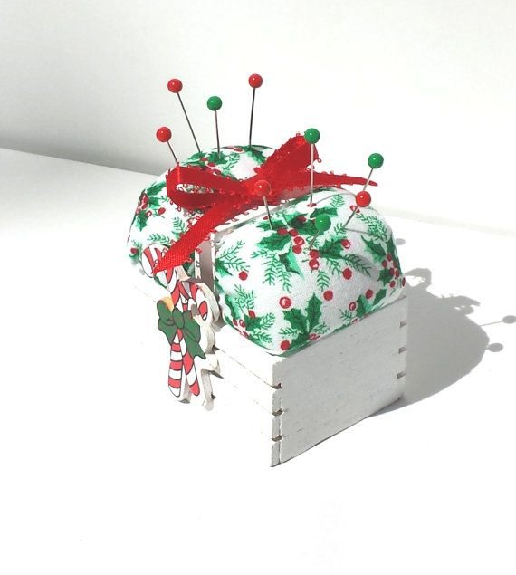Holiday Pincushion  Holly Berry Gift Box  by by Donellensvintage