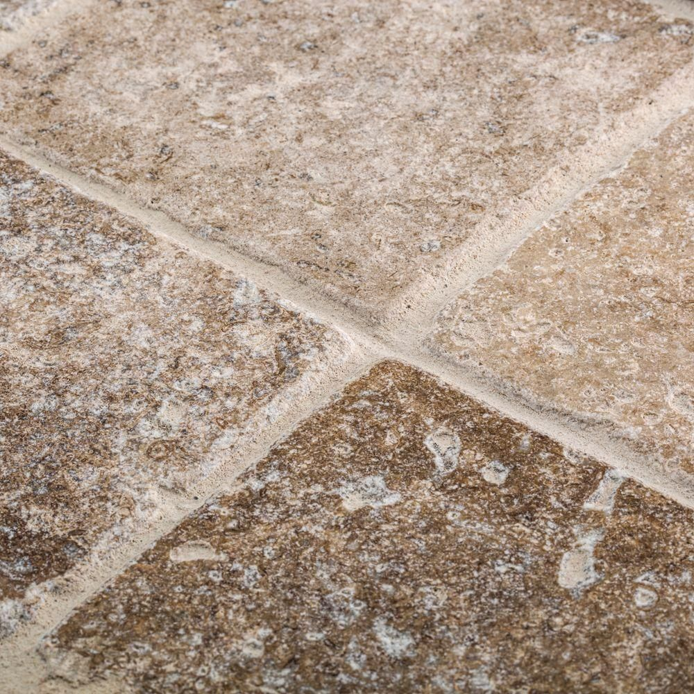 Jeffrey Court Travertino Noce 4 in. x 4 in. Tumbled Travertine Wall ...