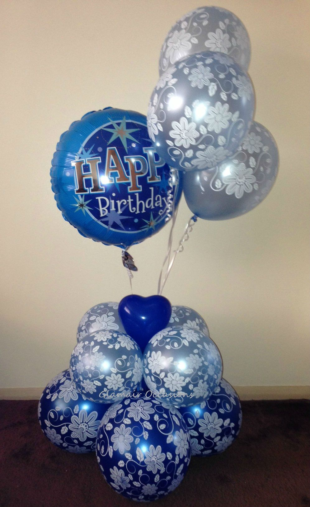 Happy Birthday Balloon Bouquet Blue Floral Balloons