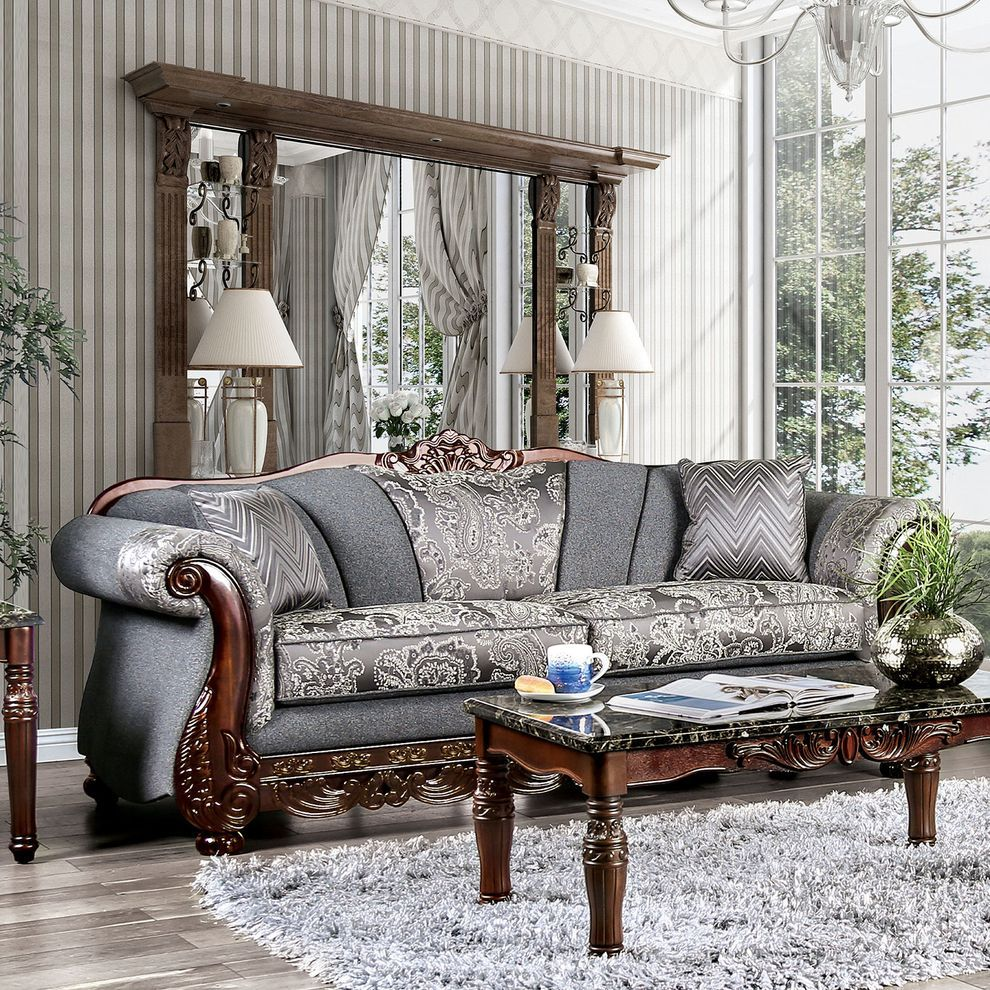 Newdale Gray Sofa Sm6424 Sf Furniture Of America Fabric Sofas Living Room Sets Cheap Living Room Sets Furniture