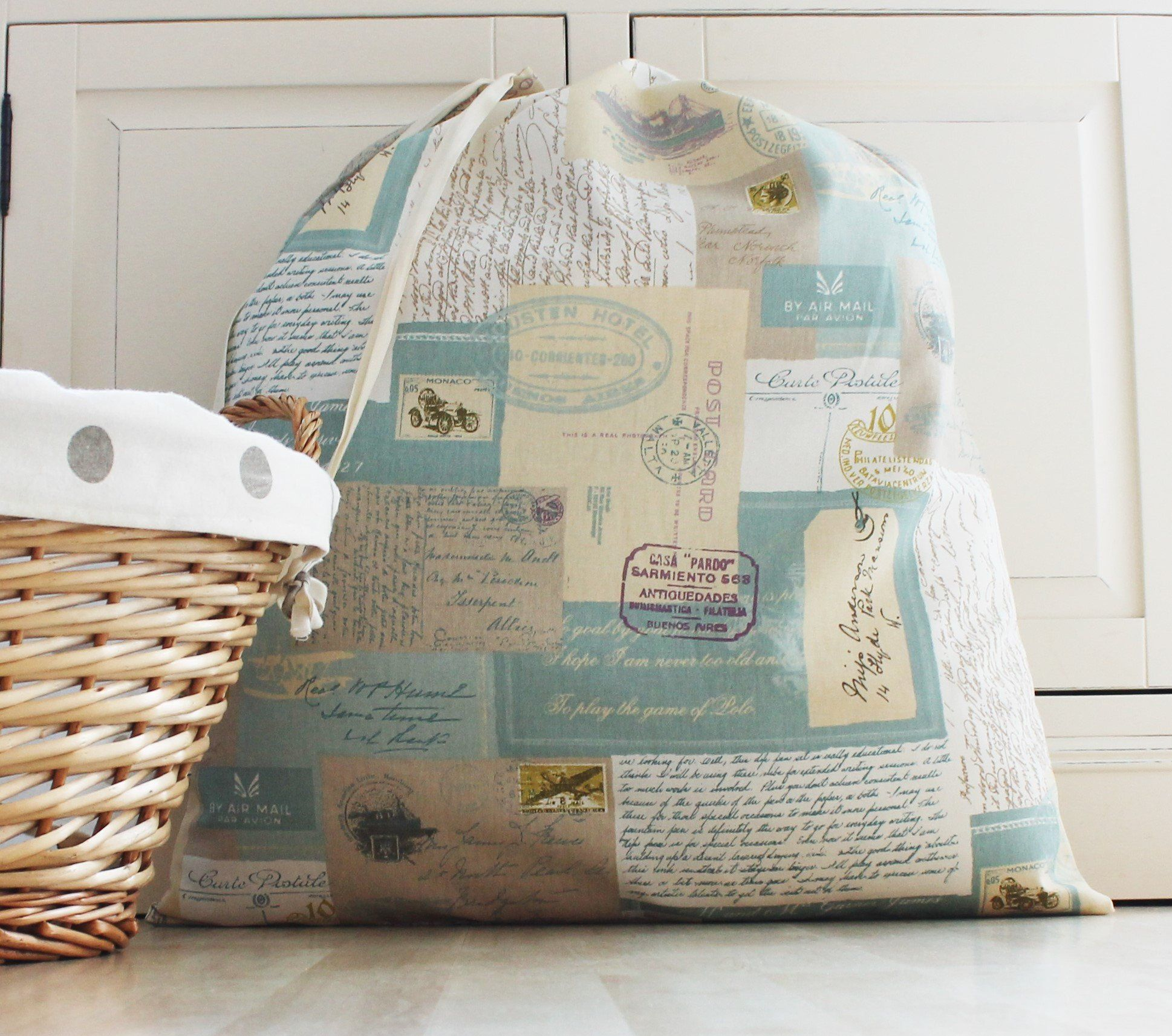Family Cotton Laundry Bag In Postal Theme Fabric Laundry Hamper
