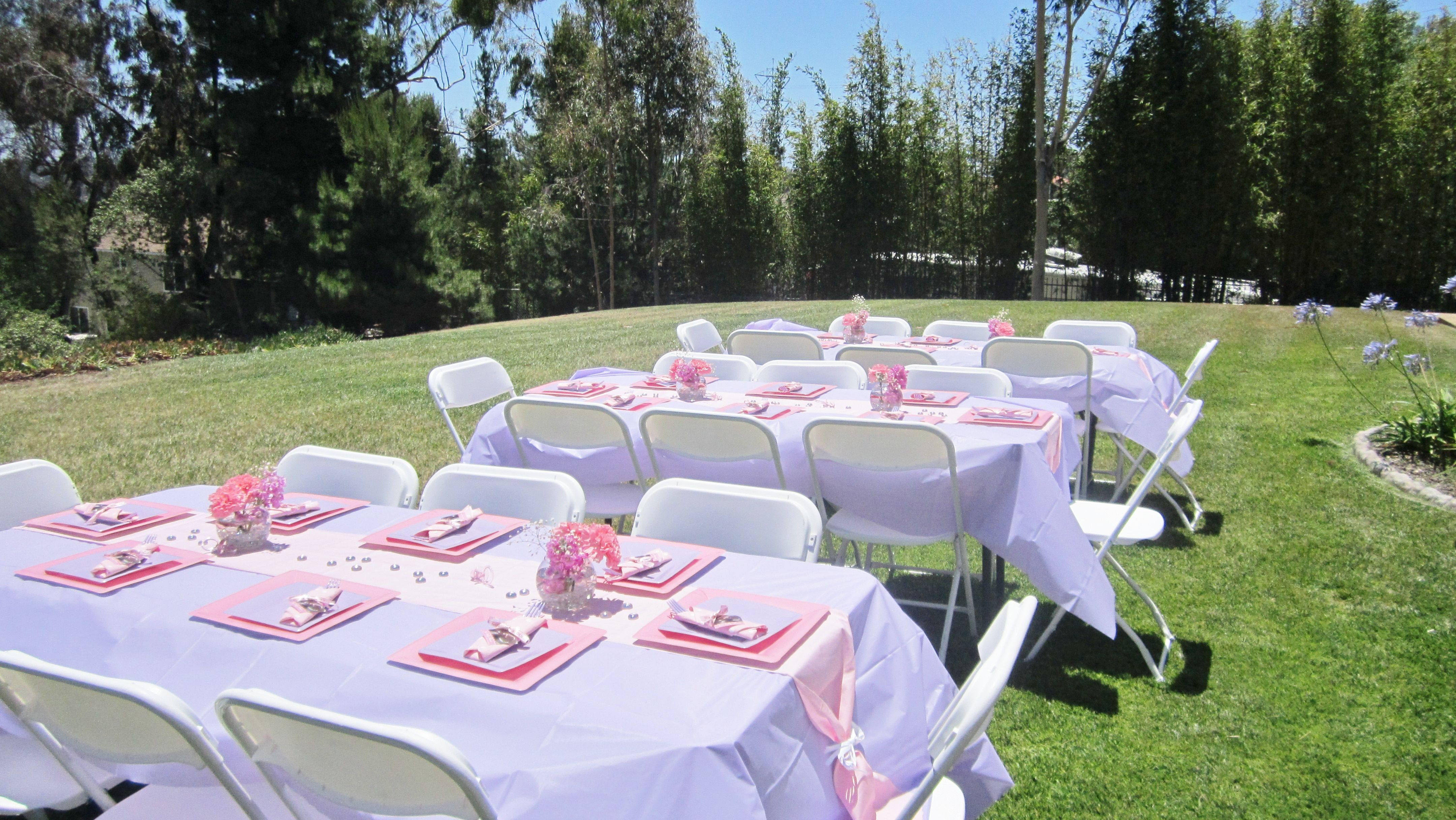 Pink And Lavender Baby Shower Table Set Up Baby Showers
