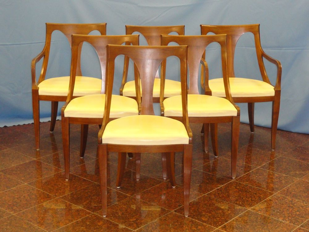 RARE 6 Pcs 1950s KINDEL BELVEDERE CHERRY FRENCH EMPIRE DIRECTOIRE DINING  CHAIR #Kindel. On