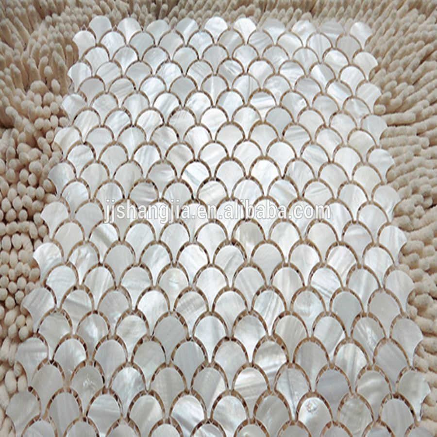 Pure White Color Fish Scale Shape Fan Shape Mother Of Pearl Shell Mosaic Tile Sheet Fish Scale Tile Bathroom Kitchen Wall Tiles Backsplash Kitchen Backsplash