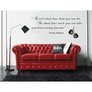 Rocky Balboa Quote Wall Sticker And A Beautiful Red Leather Sofa