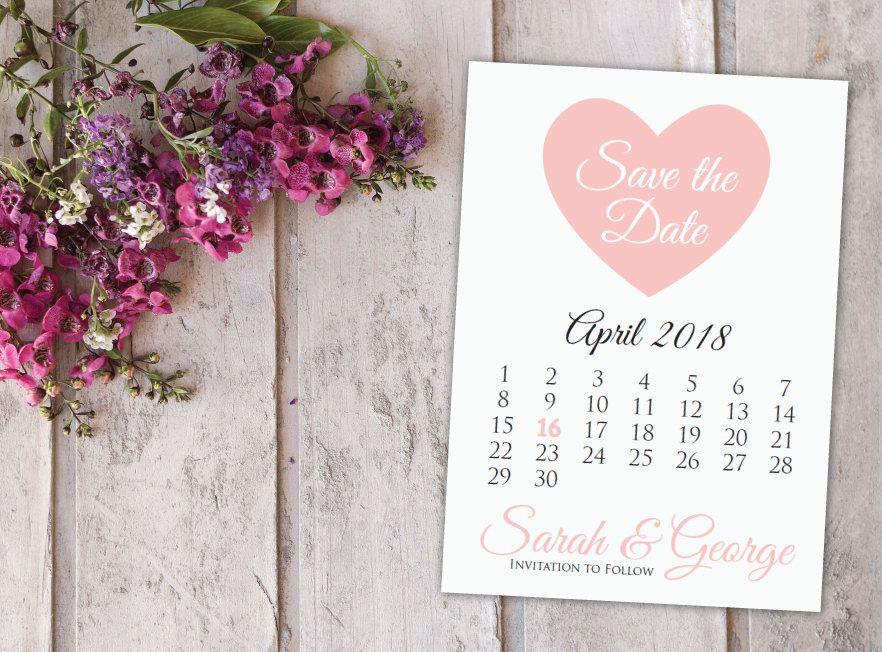 Pink Heart Save The Date Calendar Templatesave The Date Postcard