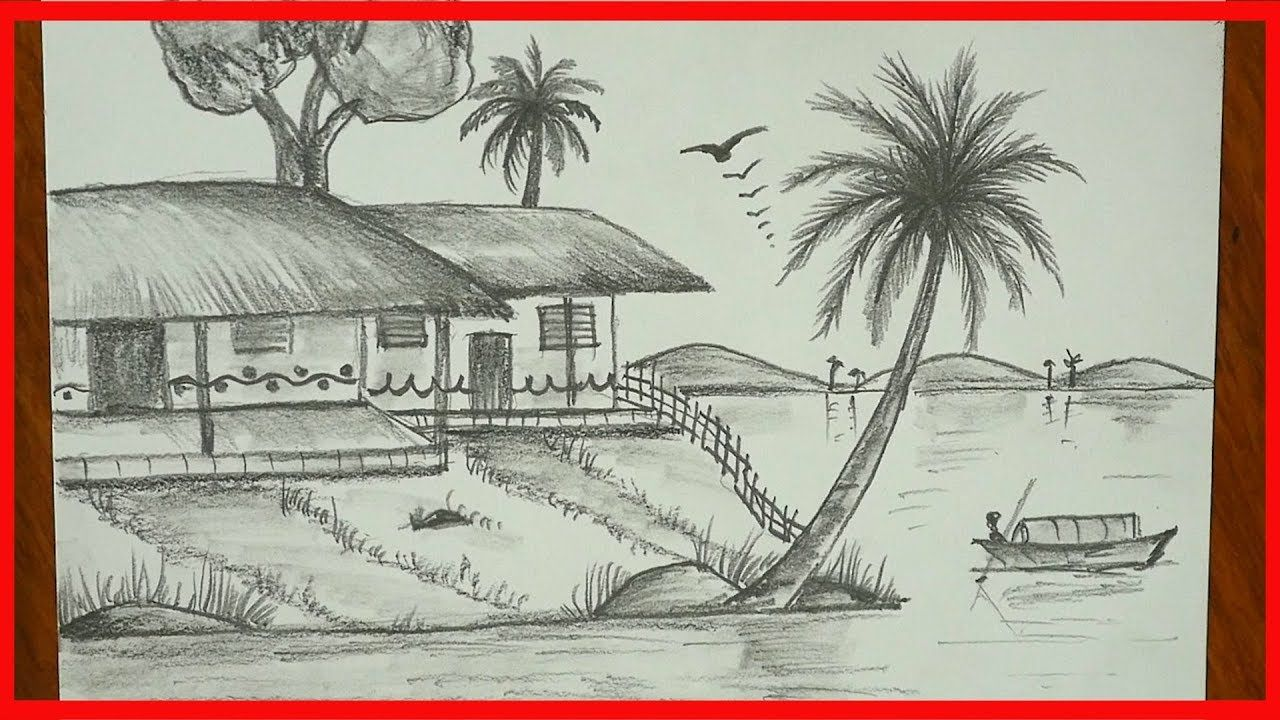How To Draw Landscape Nature Drawing Pencil Sketch Easy For Children S Drawing Scenery Nature Drawing Pencil Sketches Easy
